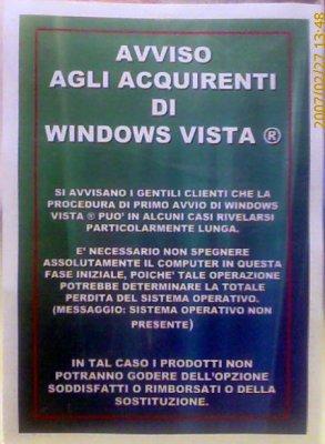 Avviso agli acquirenti di Windows Vista